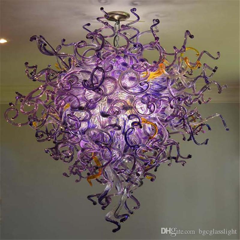 Art en verre soufflé Lustre pour haut plafond d'économie d'énergie Murano Glass Art chaîne de grande taille Lustre style élégant