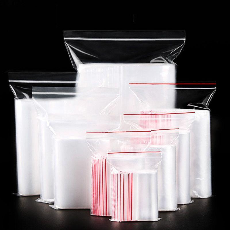 100pcs التي من البلاستيك الشفاف ختم التعبئة حقيبة مع زيبر التعبئة حقيبة للكعك شاي قهوة سحاب حقيبة