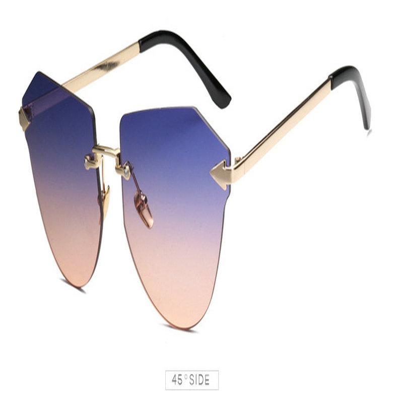 السهم بدون إطار نظارات بدون إطار الذهب مضلع الشخصية السهم نظارات شمسية رجالية أزياء النساء السهم بدون إطار خصم كبير BAFJC TKVgO