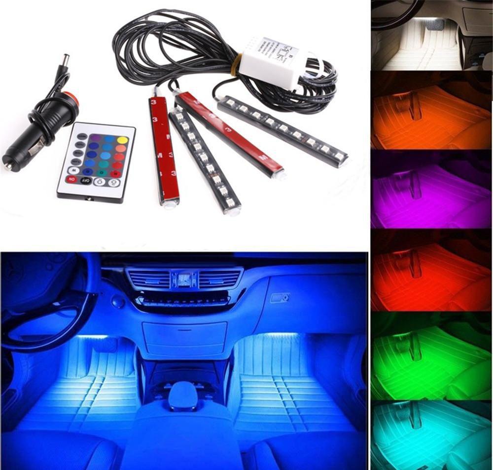 20 conjuntos de 12 V Flexível Car Styling RGB LED Luz de Tira Atmosfera Decoração Lâmpada Interior Do Carro Luz de Néon com Controlador Isqueiro