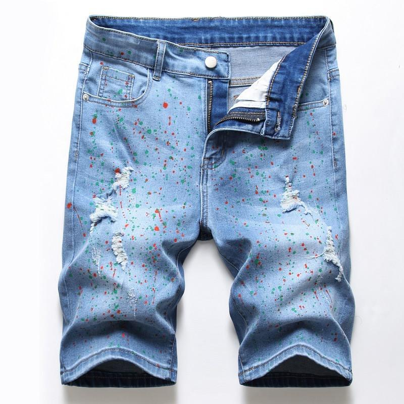 MORUANCLE Uomo Hi Via Ripped Painted brevi jeans Streetwear Stampato Distressed Denim shorts con fori Stretch Plus Size