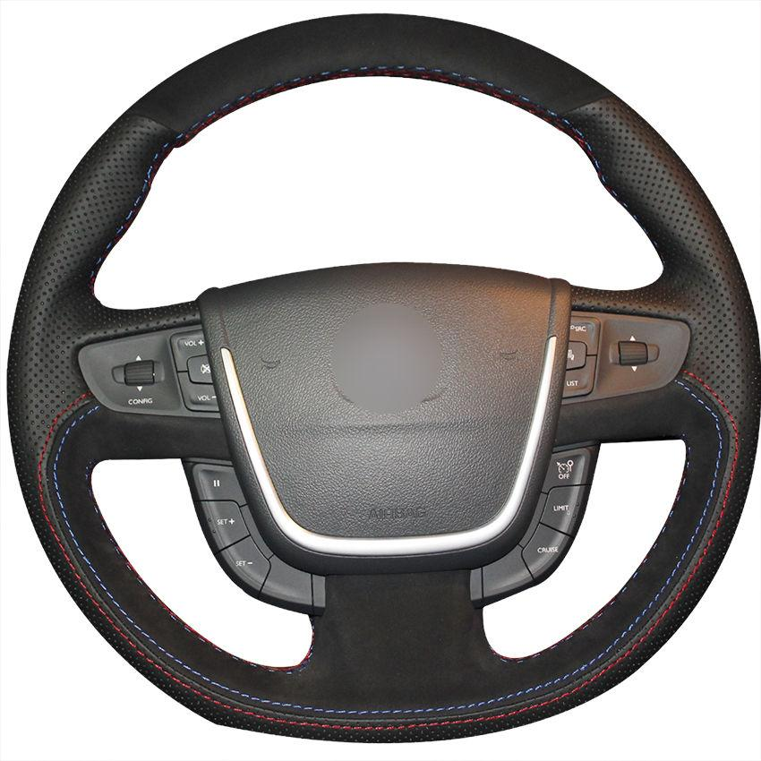 Hand-stitch Black Leather Black Suede Car Steering Wheel Cover for Peugeot 508