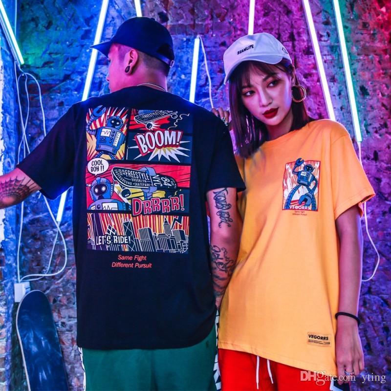Europeus e americanos t-shirt Harajuku estilo quadrinhos impressão hip hop solta de manga curta homens de meia manga t-shirt maré homens