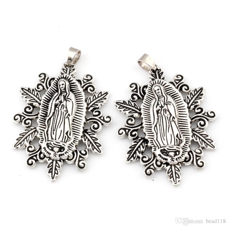 Notre-Dame de la médaille Sainte-scapulaire Alliage religieux Charme Pendentif Collier Collier Accessoires de bricolage 37x54.8mm 30pcs / Lots Antique Argent A-482A