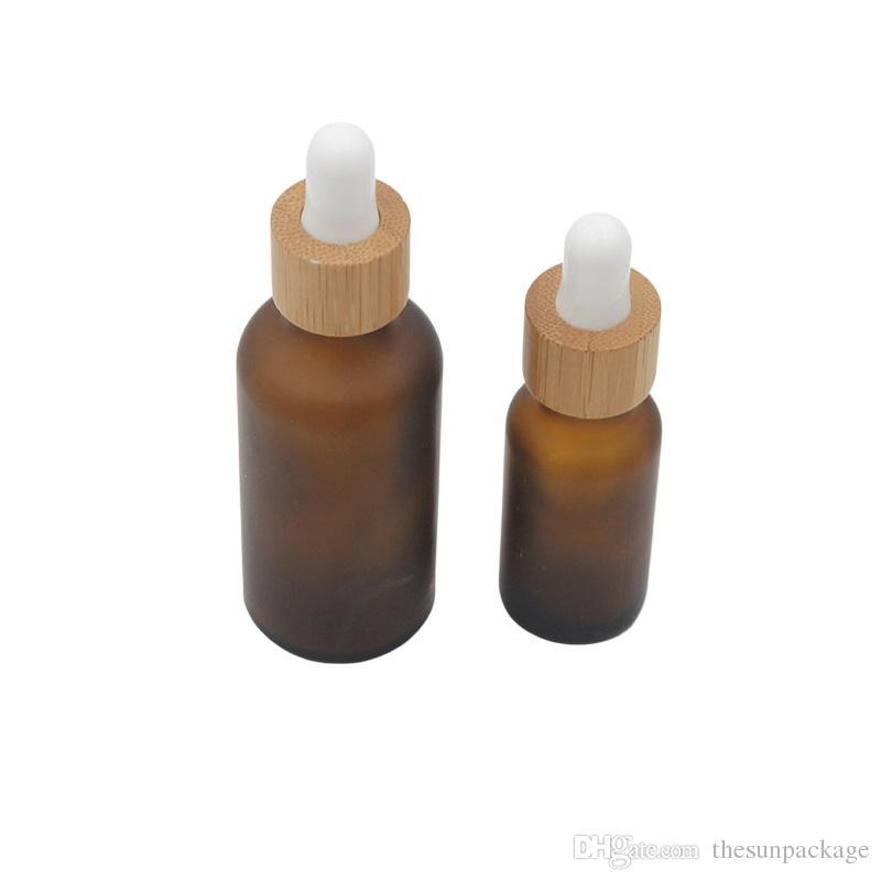 20ml 30 ml fosco âmbar frasco de vidro conta-gotas com tampa de bambu 1oz vidro bambu frasco de óleo essencial