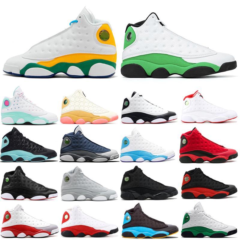 Nike air jordan retro 13 De Stock X 13 13s sapatos masculinos de basquete tampão e do vestido Ele reversa obteve a jogo hiper roya Aurora verdes Sneakers calçados esportivos sílex