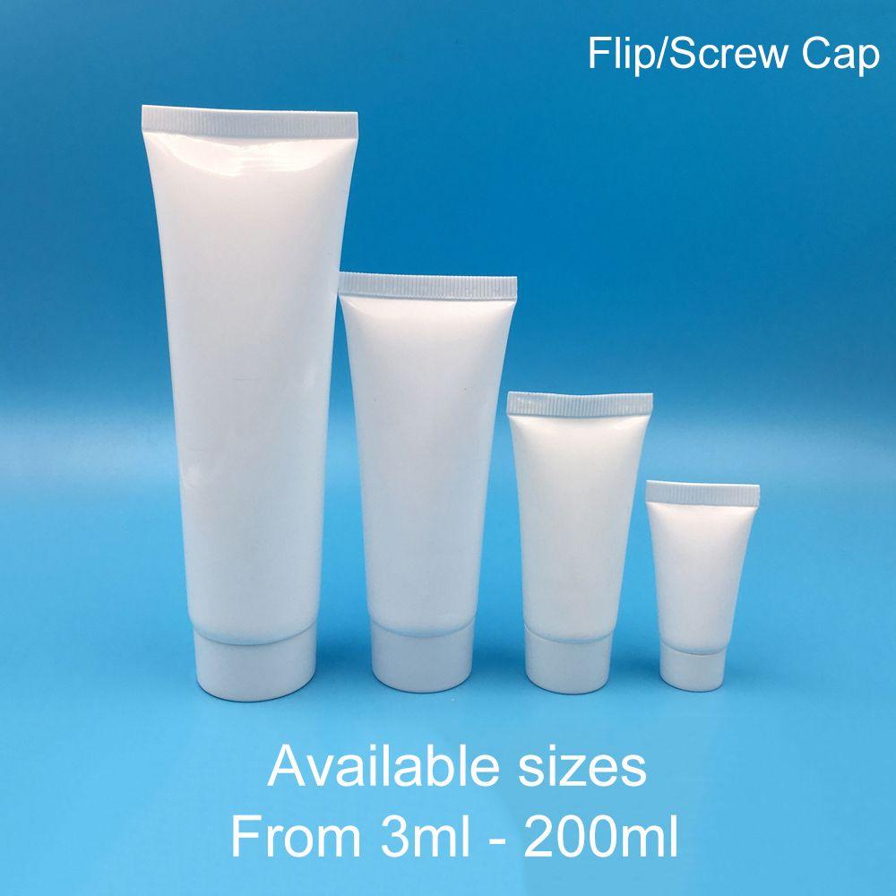 5ml 10ml 30ml 50ml 100ml 200ml Beyaz Plastik Yumuşak Şişe Makyaj Krem sıkın Tüp Şampuan Losyon Konteyner Ücretsiz Kargo 30pcs