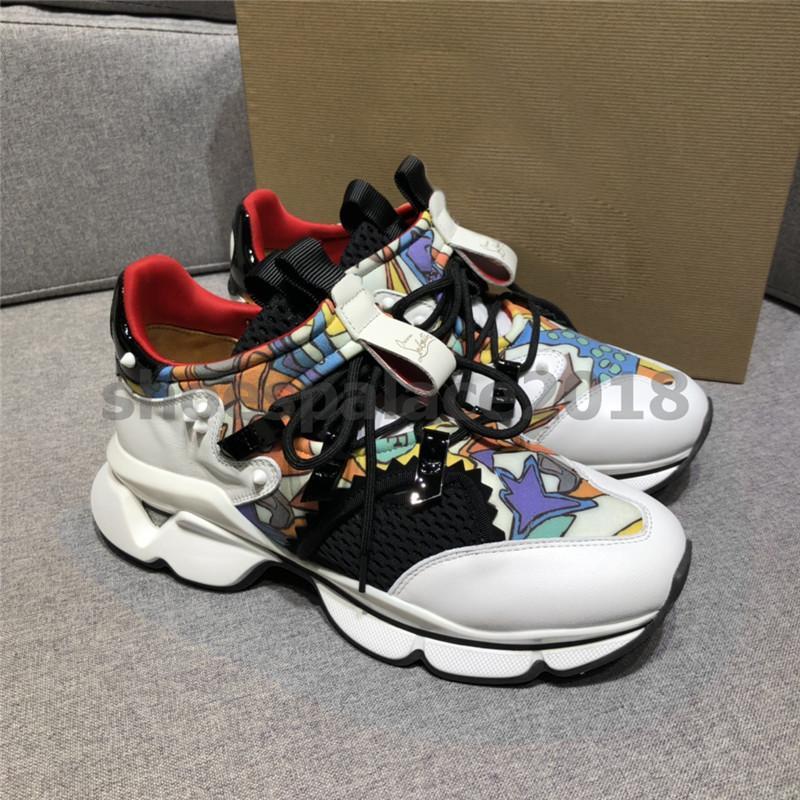 Kutu ile Womens Erkek Casual Ayakkabı Lüks Tasarımcı Spike Kırmızı Alt Sneaker Örgü Patchwork Mat Deri Shoes Erkekler Espadrilles ...