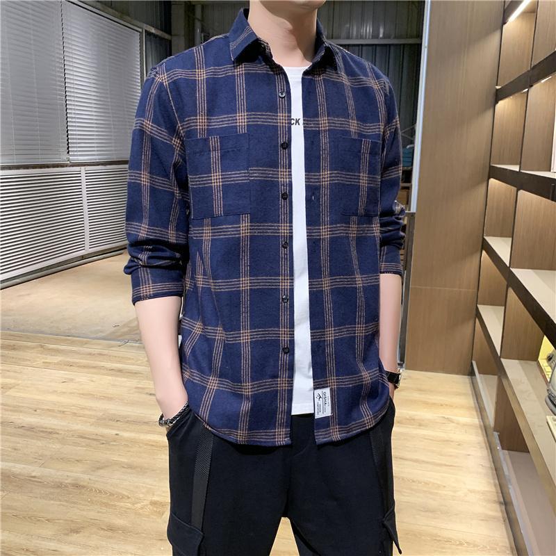 2020 мужская клетчатая хлопчатобумажная рубашка мужской высококачественный длинный рукав повседневная рубашка мужская свободная клетчатая хлопчатобумажная рубашка плюс размер 4XL