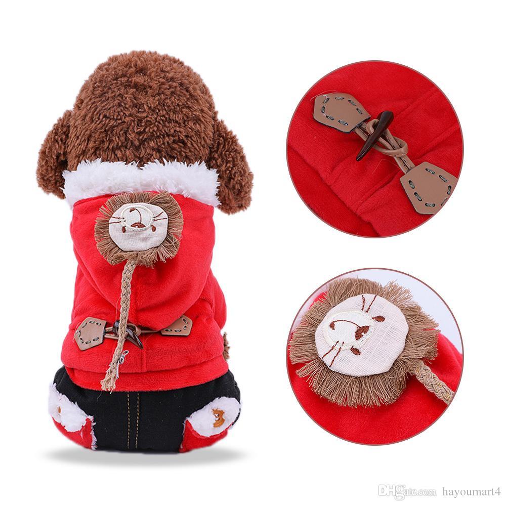 Mascota Ropa para perros Con Capucha Chaquetas de Invierno Traje Cálido Chaleco de Lana Velet Perro Motocicleta Chaleco Abrigo Ropa Abrigos Suministros Mascotas
