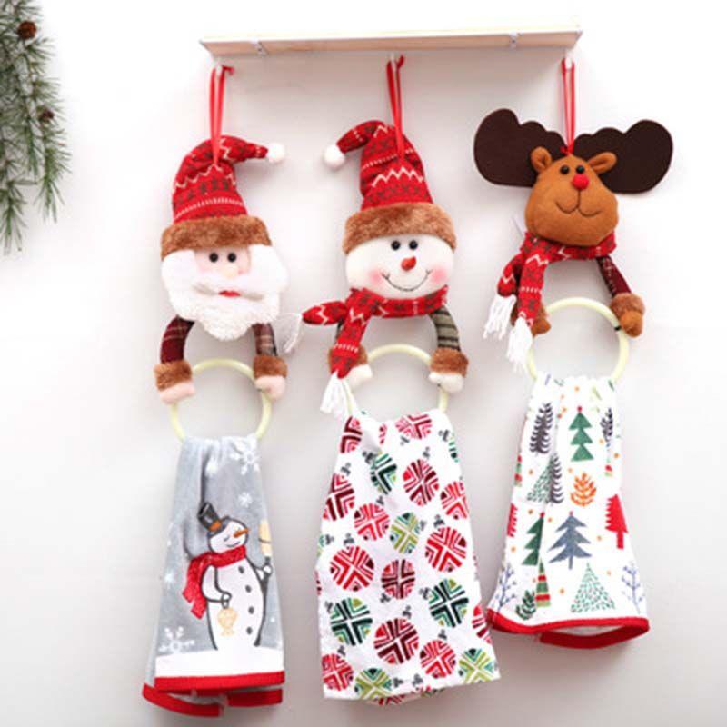 Novo-Ano Novo Pingente de Natal Decoração de pano Presente de Natal Ornamento de suspensão Home Kitchen toalha pendurada Fontes do partido Xmas
