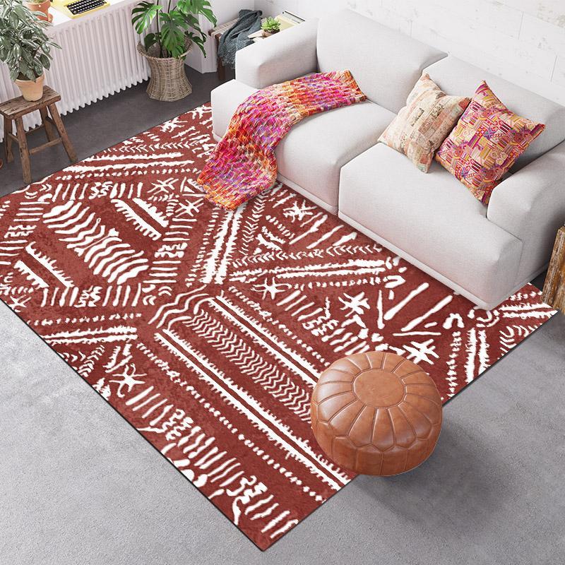 Fashion  Ethnic/Folk Style Red White Print Doormat/Kitchen Mat Living Room Bedroom Parlor Area Rug Decorative Carpet