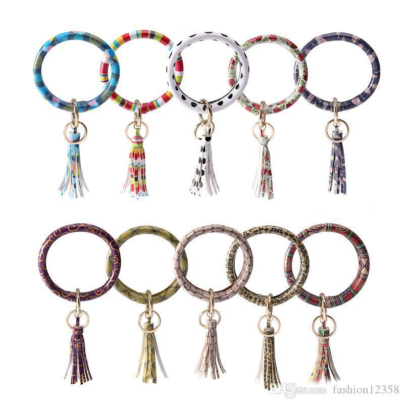 Damen-Armband-Armband Keyring große Kreis-Auto-Schlüsselring Kaktus mit Monogramm Wristlet Schlüsselanhänger aus Leder Quaste Armband-Halter