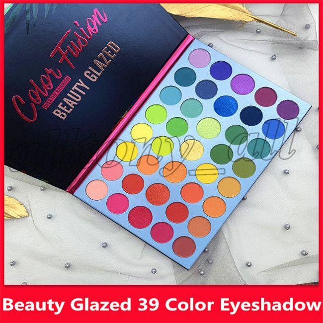 La plus nouvelle beauté vitrée 39 couleurs fard à paupières chatoyante arc-en-ciel fluorescent highgloss matte fard à paupières palette avec haute qualité