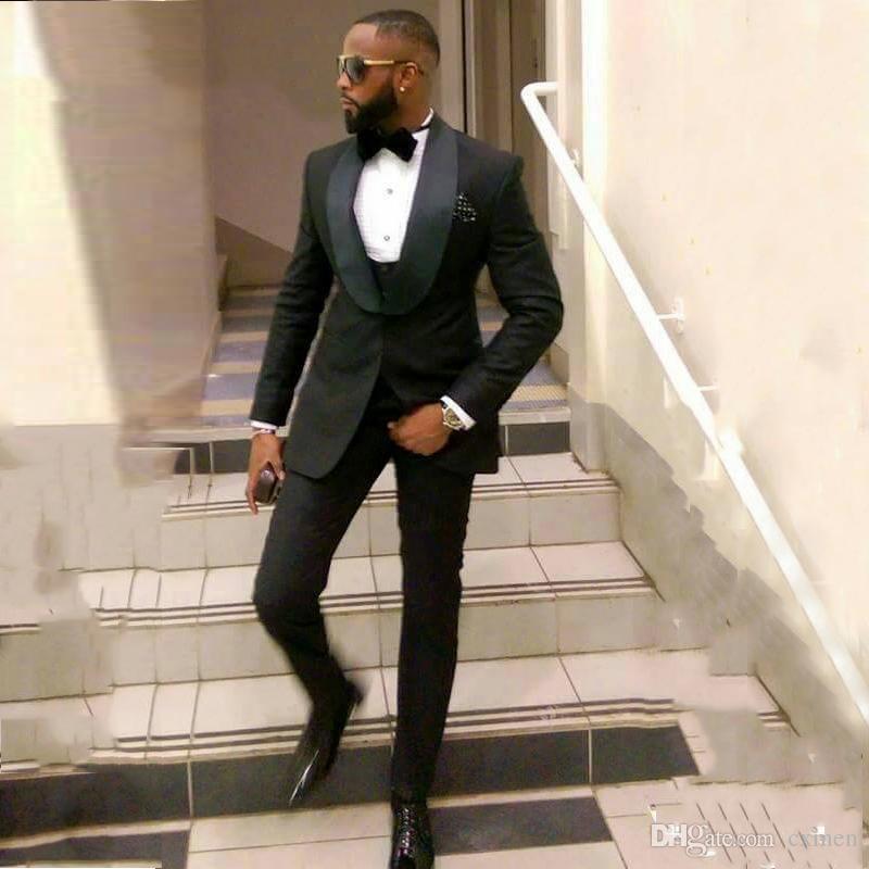 Custom Made Black Men Suits Wedding Satin Shawl Lapel Tuxedos Groom Wear Bridegroom Groomsmen Blazer Jacket Best Men Prom Wear 3 Piece Terno