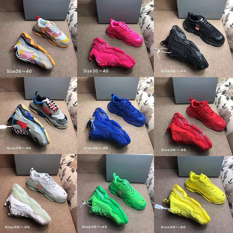 2020 platformu Triple S Temizle Kabarcık Orta taban Günlük Ayakkabılar Çok renkli kombinasyon ayakkabı Womens Moda sneaker Üst Kalite