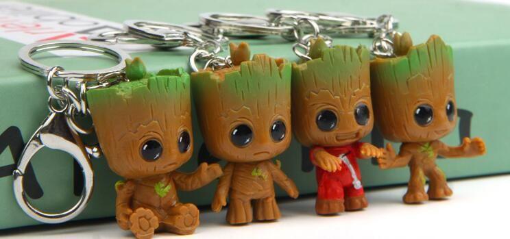 3D Gardiens de la Galaxy Groot Porte-clés PVC Groot Figure Porte-clés Porte-clés Titulaire Jouets De Mode Bijoux Livraison gratuite