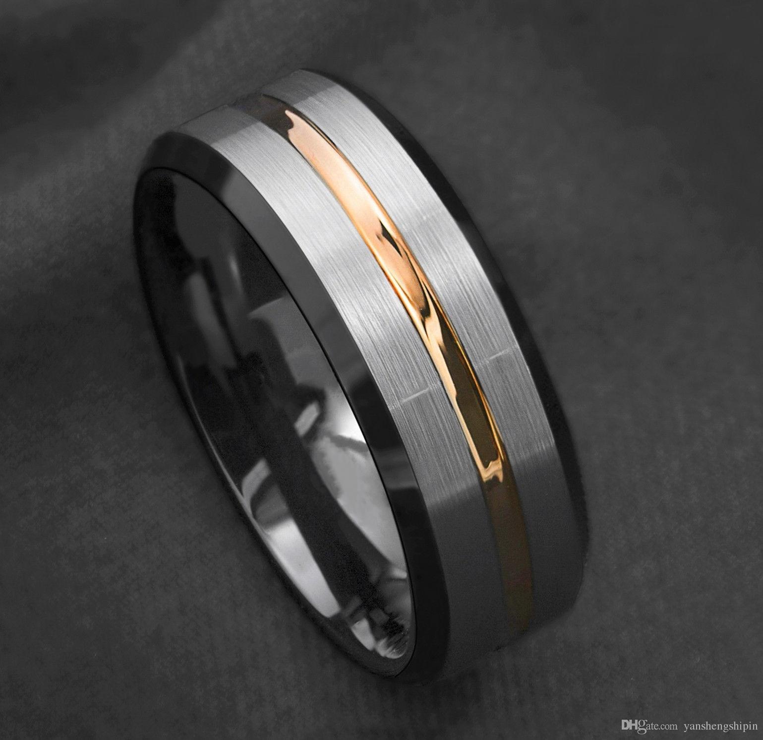 8mm Moda Gümüş Fırçalanmış Siyah Kenar Tungsten Yüzük Altın Şerit Erkek Düğün Band Boyut 6-13