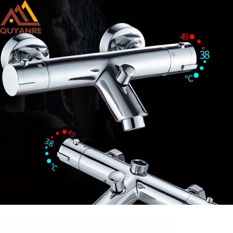 La moda de la ducha termostática Grifería termostática Conjunto de baño de mezclador del grifo caliente y fría baño Mezclador válvula de mezcla del grifo de bañera