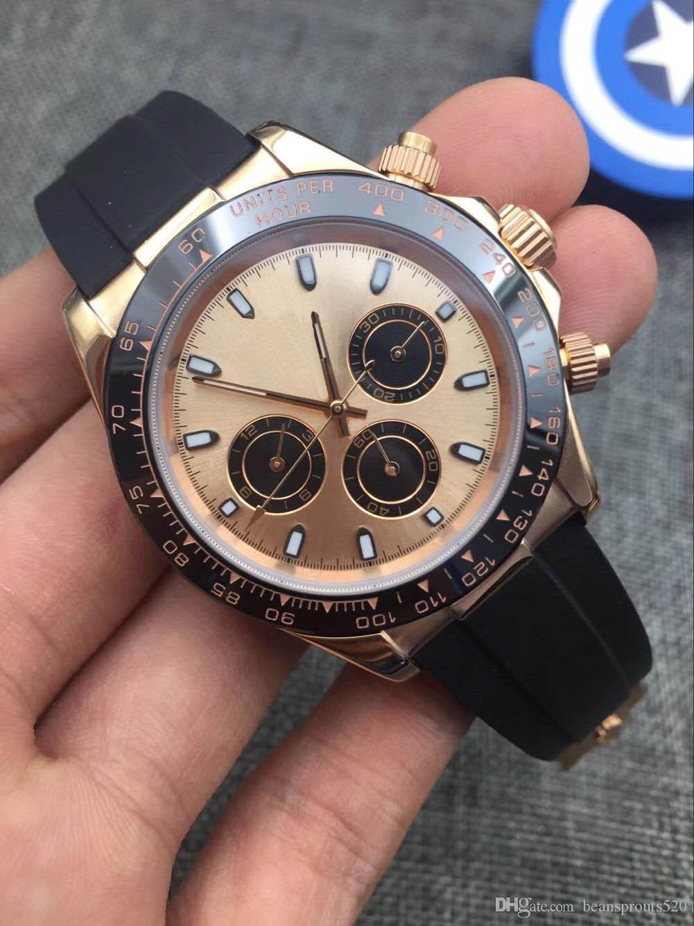 Designer-Uhren Der Master-Design-Bewegung Uhren Luxusuhr Montre de luxe, M116518, M116515, M116519. , Gummiband, sechs Nadelzeit