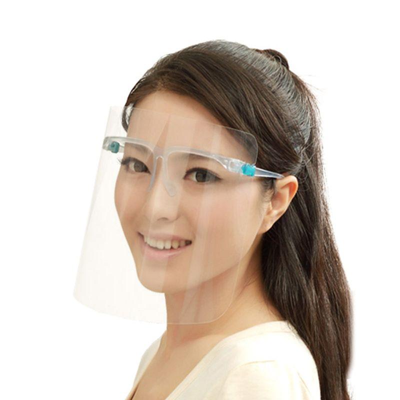 Escudo facial com óculos moldura anti-nevoeiro máscaras de isolamento de 360 graus proteção anti-óleo anti-óleo máscara facial reutilizável