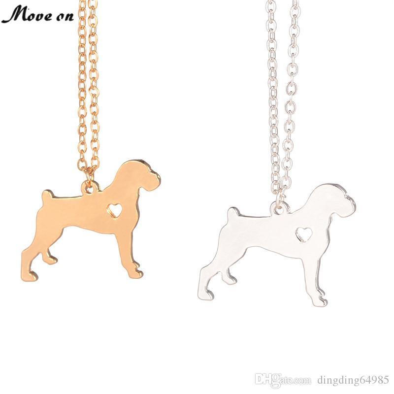 Золото серебро боксер ожерелье собака кулон Pet ювелирные изделия Серебряный Шарм домашние животные собака мемориальный подарок семья Pet новый щенок любителей собак