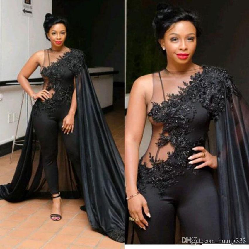 2020 New Sexy Macacões vestidos pretos do desgaste da noite com filme África do Sul árabes Lace Appliqued Prom Vestidos Beads Plus Size Vestido formal 2068