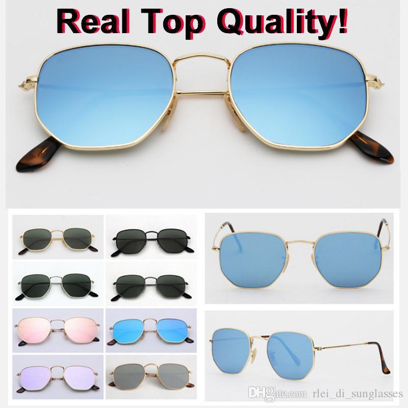 verdadera calidad superior cuadrada 3548 de la marca hexagonal de metal gafas de sol de las lentes de cristal tamaño 51 mm plana con paquetes de todo el mercurio de color rosa verde plata