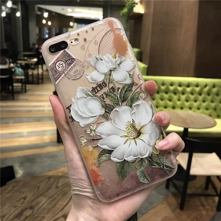 Abdeckung für iphoneX weißen Blumenmalerei Muster zurück Fall