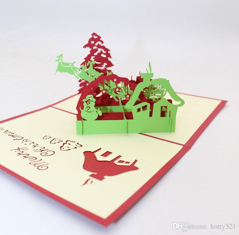 Handmade Merry Christmas Creative Kirigami & Origami 3D Pop UP Cartoon Xmas Tree snowman House Greeting Cards Free Shipping