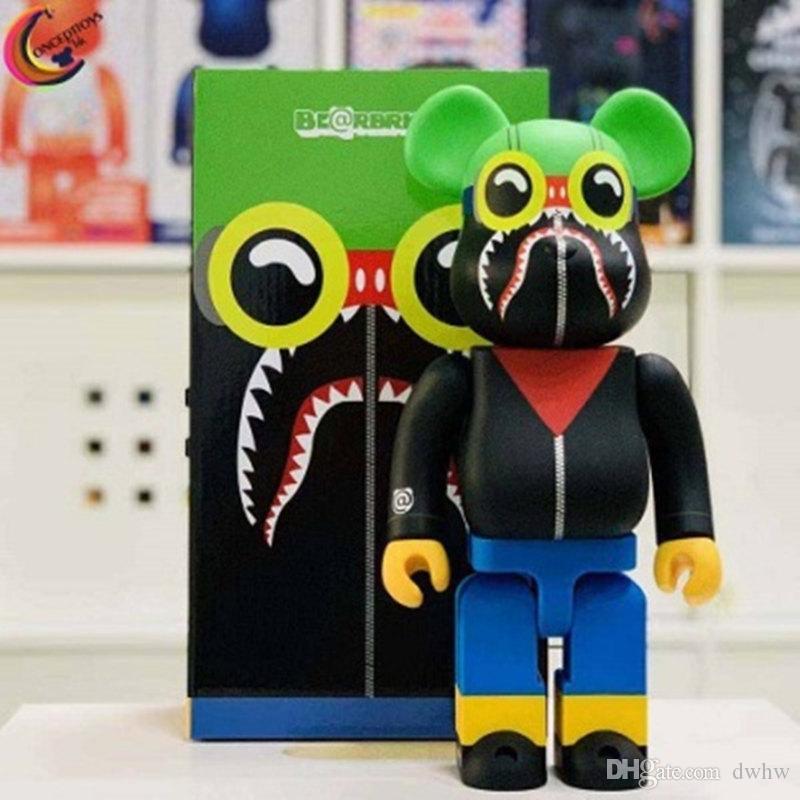 400% Bearbrick tiburón regalos violento Oso hecho a mano Modelo juguetes de escritorio cumpleaños decoraciones de Navidad 28 CM HD45