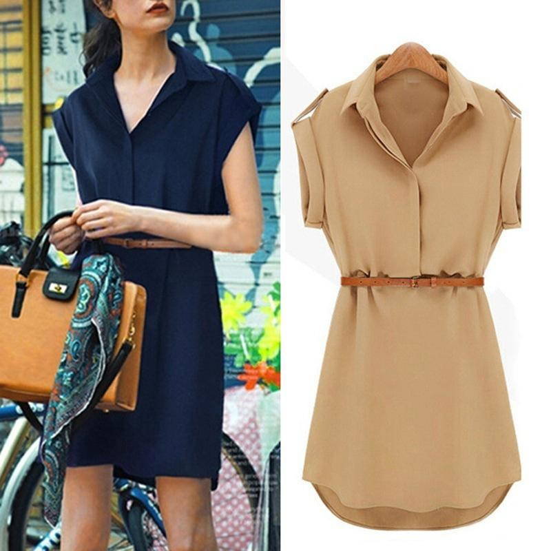 Sleeveless Chiffon Dress With Belt Summer Fashion High Quality Ladies Elegant Lapel Breathable A-line Slim-fit Solid Color Dress
