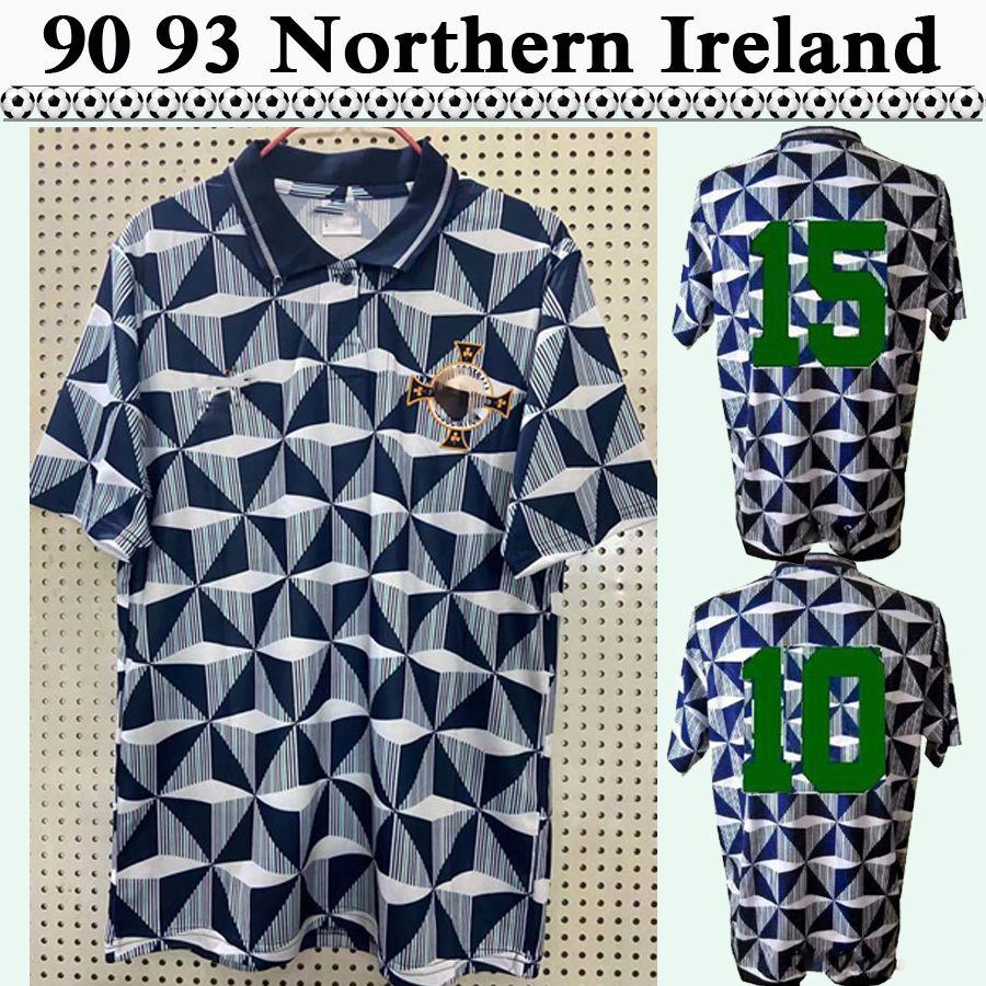 90 91 92 93 Irlande du Nord de l'Irlande Équipe nationale rétro maillots de football pour hommes de football gris Chemise de football blanc à manches courtes Uniformes adultes