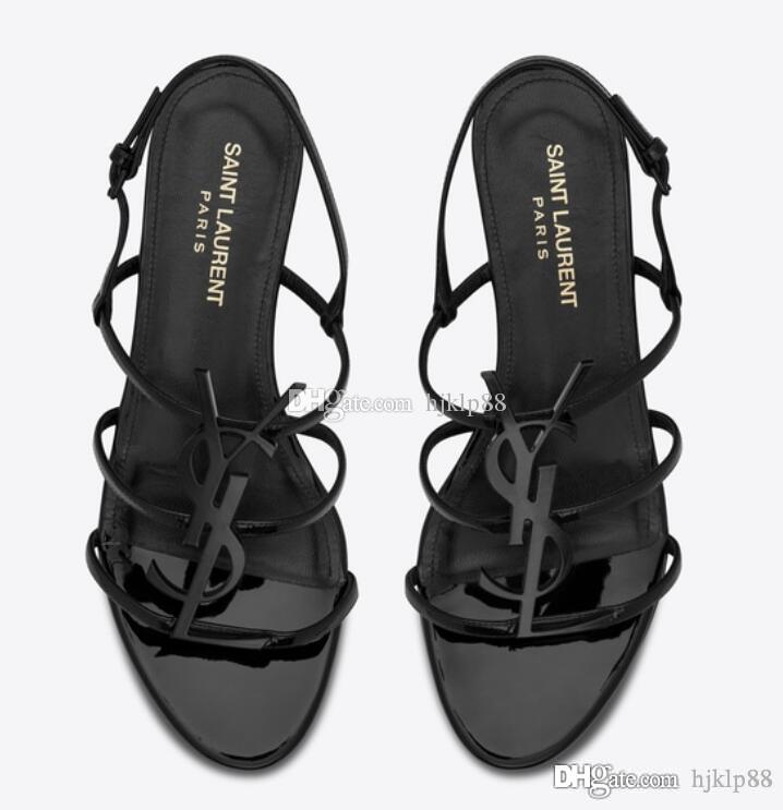 2019 zapatos a estrenar atractivas de la mujer de verano de la hebilla de la correa de bambú conjuntos sandalias zapatos planos de los zapatos de punta Moda apuntado en Stock