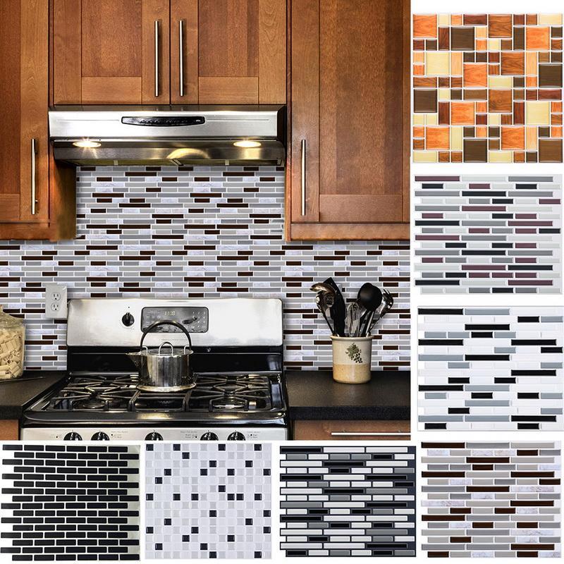 Hot 1 PC 3D Auto-adesivo Telha de cerâmica imitação de vidro mosaico adesivos de parede Decalque de papel de parede para cozinha decoração do banheiro