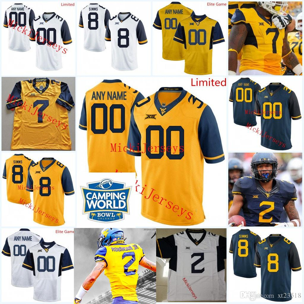watch b1730 2c83b 2019 Custom West Virginia Mountaineers Football Jersey Marcus Simms Evan  Staley Kenny Robinson Gary Jennings Kenny Bigelow Jr Jack Allison Jersey  From ...
