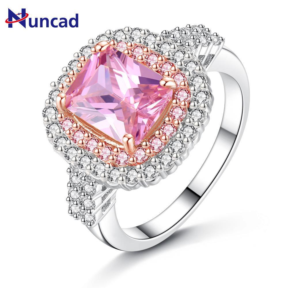 Nuevo estilo 2019 rosa amarillo anillos de cristal para las mujeres anillo colorido de plata anillos de boda piedras grandes joyería de compromiso nupcial