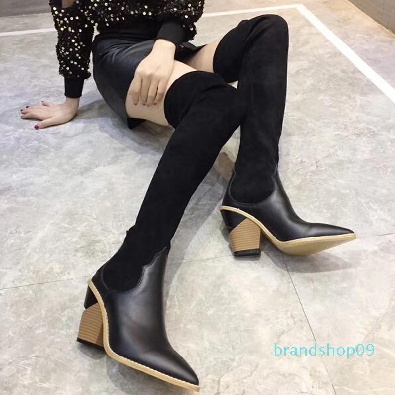 bottes de chaussettes pour femmes de la mode Pointu Chunky talon de la marque F 9.5CM des femmes de la cuisse sur les bottes du genou bottes élastiques respirante