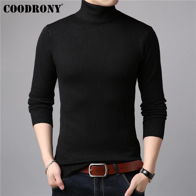 COODRONY Mens Camisolas Cashmere Sweater Homens de algodão macio Knitwear Puxe Homme inverno quente grossa gola de lã Pullover Homens 91011 SH190930