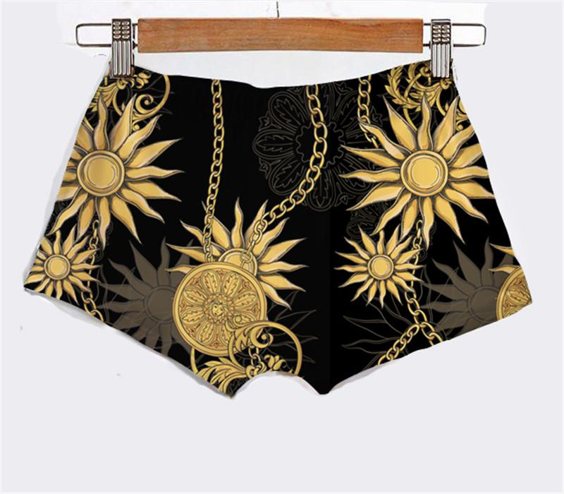 Custom Made Create Your Own Design Gold Chains and Flower Line sublimaiton printing Women Summer Underwear female shorts sexy Hot Shorts