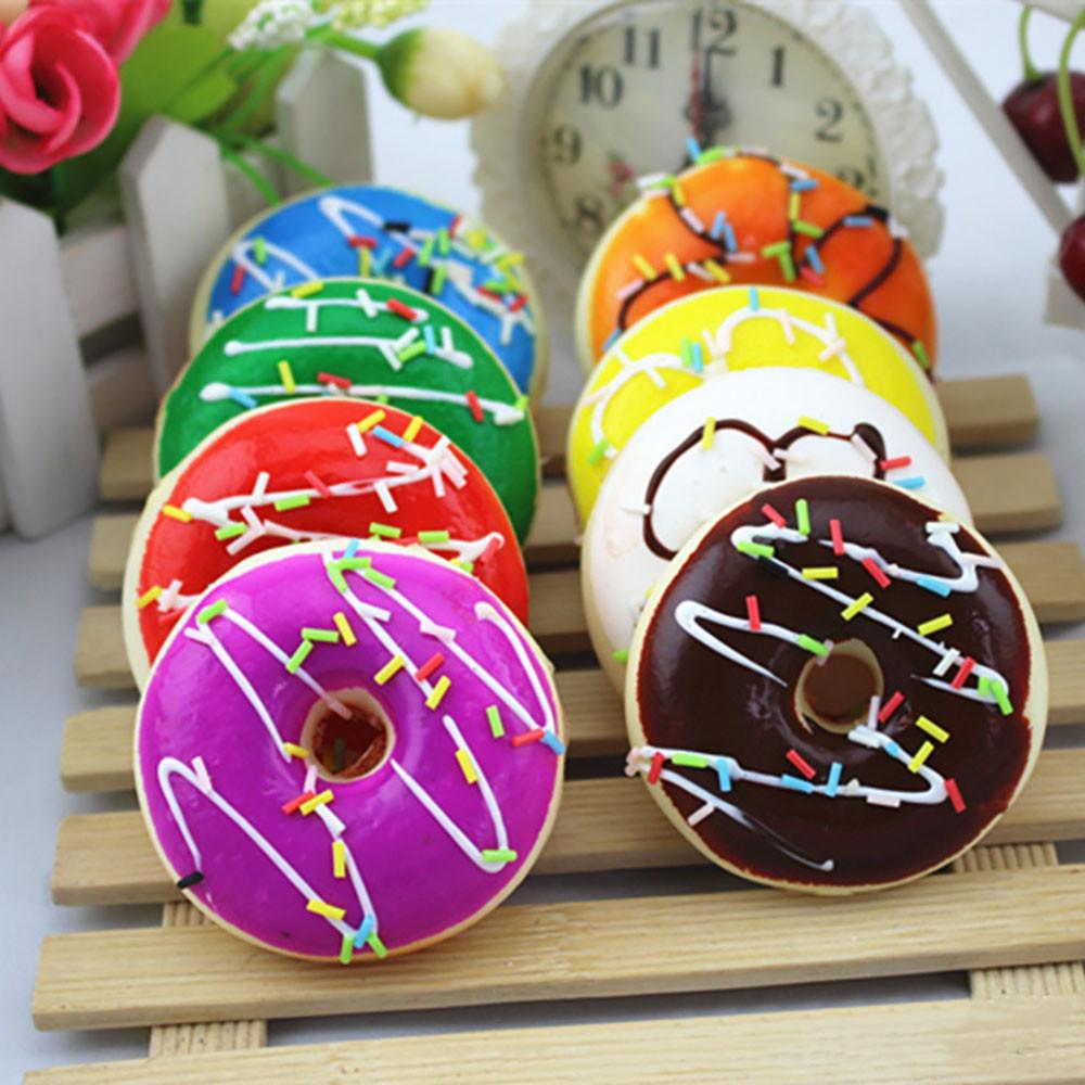 Slow Rising Doughnut Colourful Squishy Toys Squeeze Stress Reliever Soft Scented Kids Adult Toy Stress Reliever For Kids Gifts