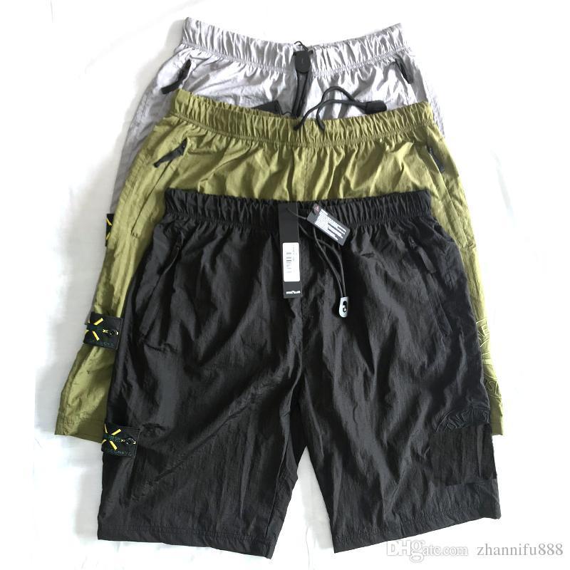 19ss Avrupa sıcak marka retro rahat şort plaj ter pantolon erkek pantolon için ithal metal naylon rahat sokak severler uyluk pantolon