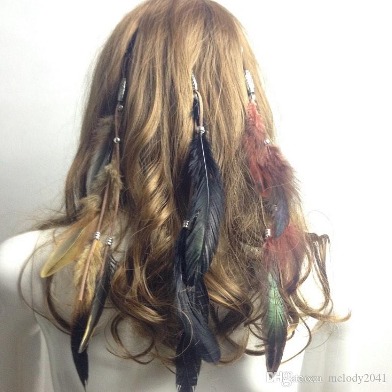 Vintage Feather Hair Clips Hair Accessories Indian Feather BB Clip Women Jewelry Barrettes Mix 3 Colors Wholesale