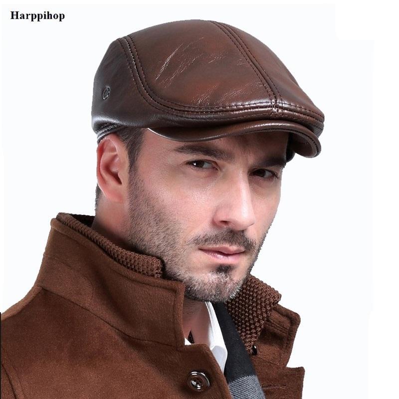 Мужская открытый зимний кожаный шлем береты мужской теплый уха защитный колпачок 100% натуральная кожа папа шляпы оптовой отдыха кости Y200103