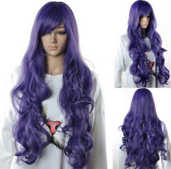 Бесплатно SHIPPIN + мода женщин Длинный фиолетовый волнистые косой челки партии косплей парик волос полный парики