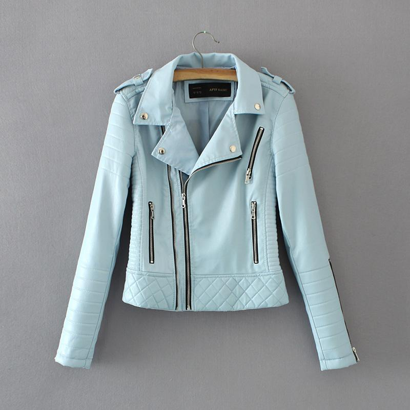 Hot Sale New Fashion Women Spring Autumn Soft Faux Leather Jackets Lady Motorcyle Zippers Biker Blue Coats Black Outerwear