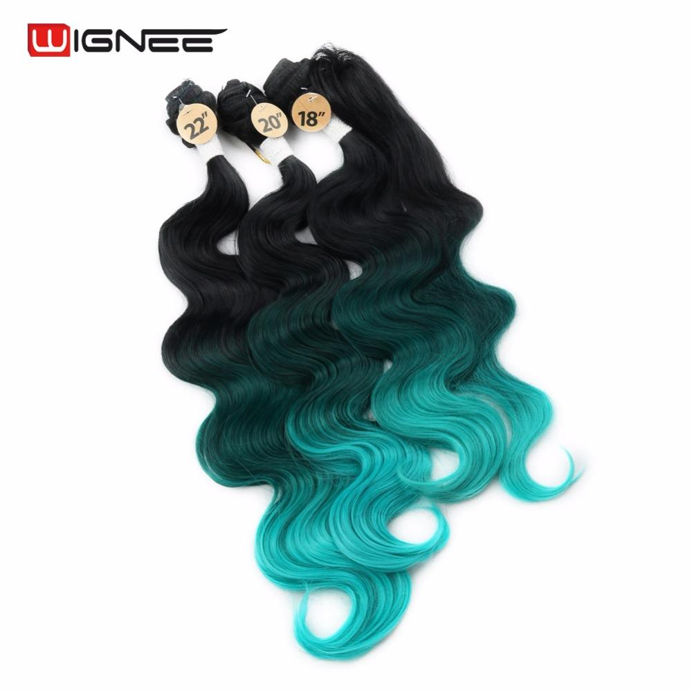ne 3 Tone Ombre Color Green 4pcs / lot Synthetic Hair Extension Body Wave Hair Style For Black White Women Cosplay Hair Piece