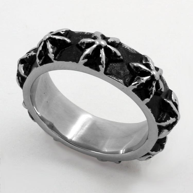 2020 neue europäische und amerikanische Retro Gothic sechszackigen Stern Anhang Titanstahlring-Index Ring Paar Mode-Punkring Schmuck Qj143u