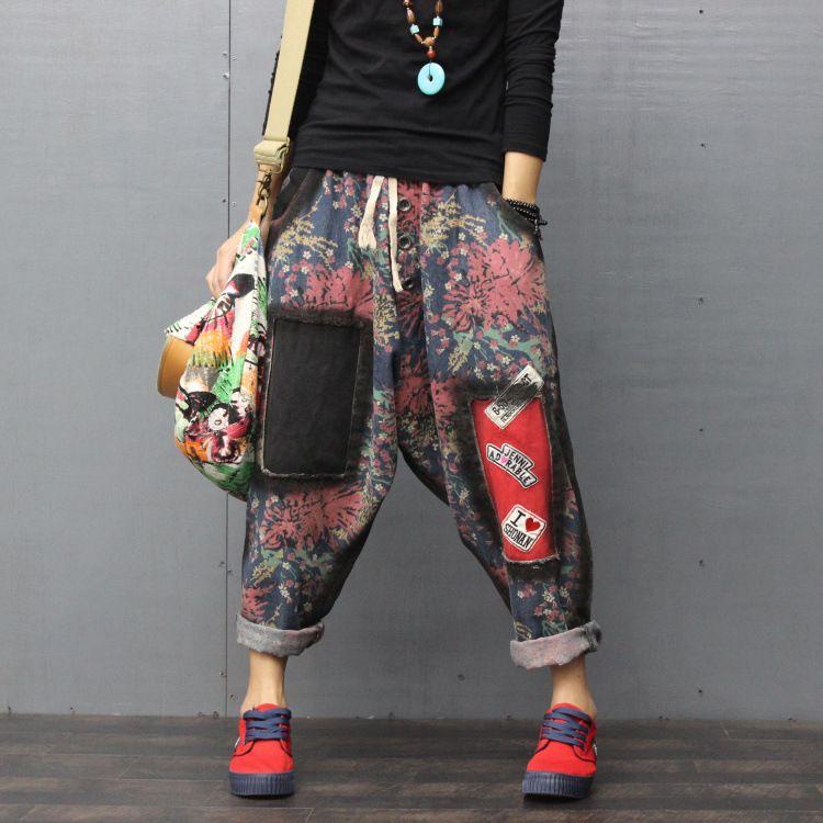 Art und Weise grundlegender Druck Denim keucht lose Hosen des breiten Beines weibliche Jeans-Frauen-Loch-Denim-Harem-elastische Taillen-beiläufige Hosen