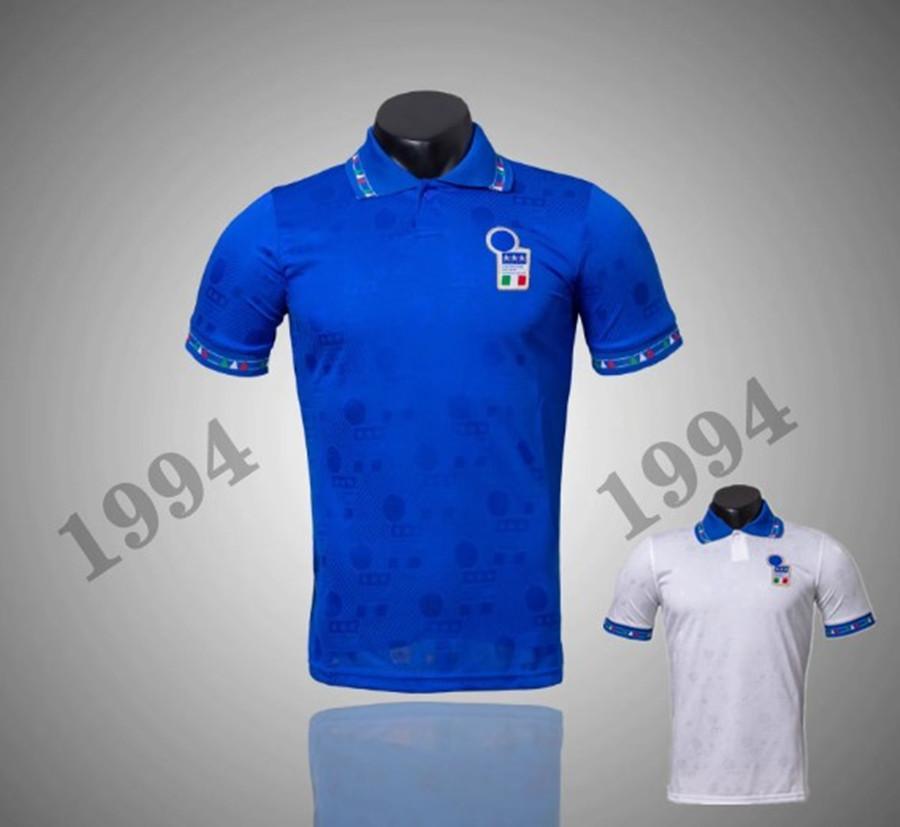태국 JACQQ 1994 이탈리아 국가 대표 레트로 홈 멀리 축구 유니폼 94 이탈리아 R. Baggio Maldini Baggio Zola 빈티지 클래식 축구 셔츠